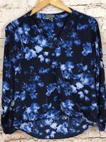 Vince Camuto blouse top shirt womens Small Faux Wrap Floral Surplice blue B9
