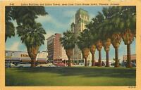 Phoenix Arizona~Luhrs Building and Tower~Shops~Court House Lawn~1953 Linen PC