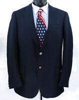 New Barry Mens 42XL Wool Blend Blazer Navy Blue Gold 2 Button Sport Coat Jacket