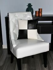 Accent Decorative leather pillow black white throw case cover cushion couch sofa