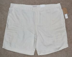 New Coldwater Creek Shorts Natural Fit Off White Linen Cargo Sz 24