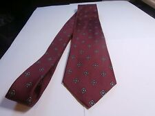 Brooks Brothers silk Mens Neck Tie Maroon blue and gold medallion designer wear