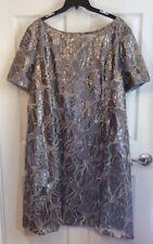 Tahari Woman Plus Sz 22W Dress Sequin Netting Leaf Print Metallic Gold Gray $159