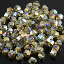 100pcs gray ab 4MM 5301#glitter Crystals luster delicateness Bicone Loose/*