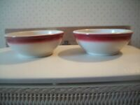 "Vtg Syracuse China 2 Cereal Bowls 5.5"" White w/Maroon Airbrush~Restaurant Ware"