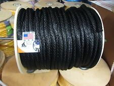 "ANCHOR ROPE,DOCK LINE 3/8"" x 100' BLACK  NYLON MADE USA"
