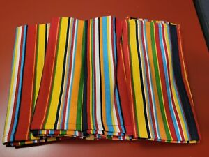 Fiestaware Fiesta Dinner Napkins Cloth Set Of 4 Red Blue Yellow Green Stripe