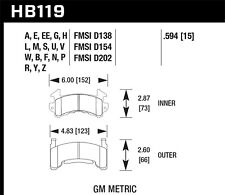 Disc Brake Pad Set-Base Front,Rear Hawk Perf HB119N.594