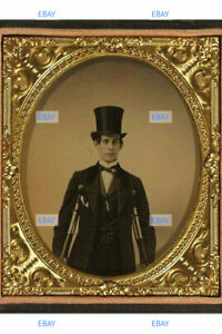 POSTCARD Print / Man with top hat + crutches on tintype, 1870's (repro)