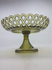 Vintage Olive Green Glass Lace Edge Compote With Lattice Border