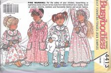 UNCUT sewing pattern Butterick 4413 girls 5-6X robe nightgown hat vintage 1989