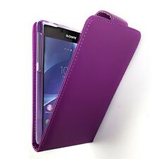 Synthetic Leather Flip Case Cover with Card Holders for Sony Xperia Z2 Purple