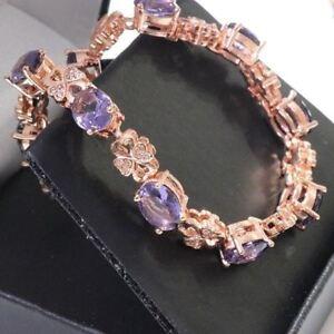 Sparkling Oval Amethyst Bracelet Women Wedding Jewelry 14K Rose Gold Plated