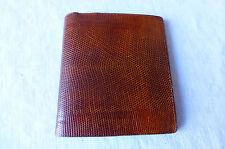 porte feuilles porte monnaie vintage en véritable lézard et cuir marron