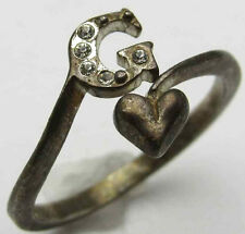 "Vintage ""G"" Initial Ring Adjustable White Rhinestones Heart 925 Sterling Silver"