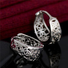 Hot Sale Classic Fashion Hollow Carving Silver Hoop Earrings 1 pair Wholesale