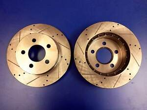 1 Set x Brand New Ford Falcon AU Series 2/3 Front Disc Rotors Drilled & Slotted