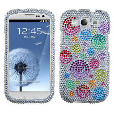 Samsung Galaxy S III 3 Crystal Diamond BLING Case Phone Cover Rainbow Bubbles