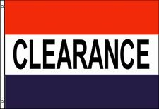 Clearance Flag Banner 3x5 ft - Business Store Sale Sign Red White Blue Stripes