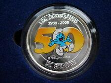 5 EURO 2008 COLORISE LES SCHTROUMPFS ARGENT MASSIF RARE 50 ANS COFFRET ET CERTIF