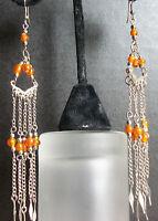 Orange Peach Coral Blush Dangle Chandelier Earrings Unique Handmade Long Drop B