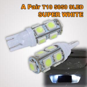 2 X T10 LED 9 5050 SMD LED PARKER LIGHTS/WEDGE LIGHTS -ULTRA BRIGHT WHITE-12V
