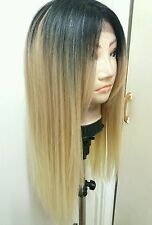 Blonde Human Hair Wig, Real Hair, Hair Blend, Long, Ombré, Dark Roots
