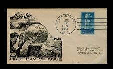 Scott# 744 5cent Yellowstone July 30, 1934 Rare Unofficial WASHINGTON DC Cancel