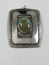 Unique Native American Sterling Silver Turquoise Pendant