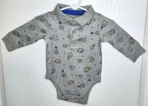 Garanimals Infant Baby Boys Bodysuit Gray Sports Print Collar Long Sleeves 0-3 M