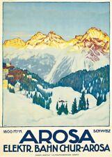 Vintage Ski Posters AROSA, Swiss, by Emil Cardinaux, 1915, 250gsm  Travel Print