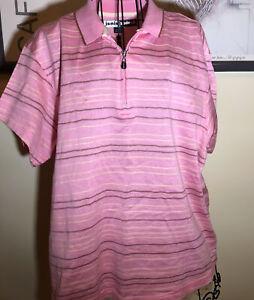 Jamie Sadock Women's Xl Pink Striped Golf Polo Shirt Short Sleeve 1/4 Zip
