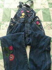 Girl's size 8 Looney Tunes Tweety Carpenter Bib Jeans with Embroidered Flowers