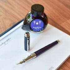 ST Dupont Line D Blue Fire Head Under Lacquer & Chrome Plated Trim Fountain Pen