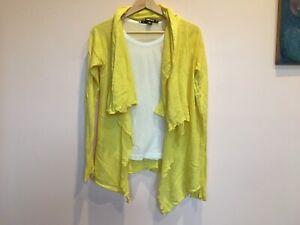 DKNY Women Yellow Cardigan S Petites