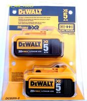 2 NEW IN RETAIL PACKAGE GENUINE Dewalt 20V DCB205-2 5.0 Batteries 20 Volt