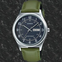 Casio MTP-V006L-3B Mens Analog Silver Tone Watch Green Leather Band Day Date New