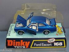 "DINKY TOYS MODEL No.168 FORD ESCORT 2 DOOR SALOON CAR  ""BLUE VERSION""  VN  MIB"