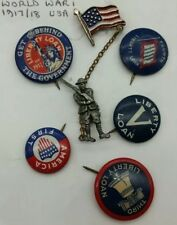 """WW1 US American Army Home Front Fund Pin Badges """"Liberty Loan"""" """"America First"""""""