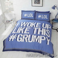 #Grumpy Dont Wake Me Up Reversible Stripe Bedding Duvet Quilt Cover Set