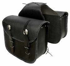 MOTORCYCLE MOTORBIKE GENUINE LEATHER SADDLE BAG PANNIERS PAIR
