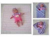 """Handmade Crochet Baby Doll Blanket Toy or Security Blanket Lovey Preemie 20"""""""