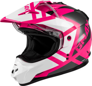 GMAX GM-11S Dual-Sport Trapper Snow Helmet (Large, Pink/White/Grey)