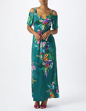 NEW NWT MONSOON NOLA GREEN TROPICAL PARROT OFF SHOULDER MAXI DRESS 8 4 36