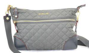 MZ Wallace Nylon Grey Crosby Crossbody Bag $295.00 #407SW
