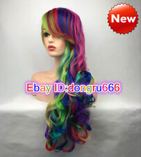 Hot Sale Women Long Multicolor Rainbow Wavy Cosplay Party Hair Full Wig+Wig cap