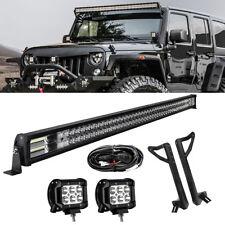 52inch 924W LED Light Bar+2x 18W Pods+ Mount Bracket Fit For Jeep Wrangler JK 50