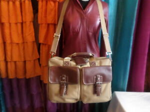 HARTMANN LUGGAGE CANVAS AND LEATHER LAPTOP BAG