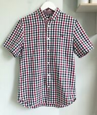 """FRED PERRY Red Green Navy Checked Short Slv Shirt S Chest Logo Pit to Pit 19"""""""