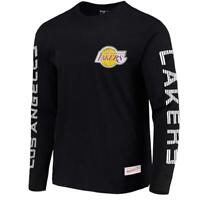 Los Angeles Lakers Mitchell & Ness NBA Outline Long Sleeve T-Shirt - Black